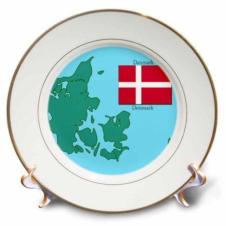 3dRose The map and flag of Denmark with Denmark printed in English and Danish., Porcelain Plate, 8-inch