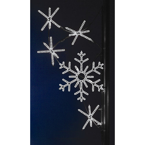 Holiday Lighting Specialists Pole Decoration Snowflake Cascade in Pure White (Set of 2)