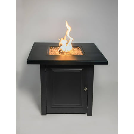"""28"""" Matte Black Propane Fire Pit Table with Free Arctic Ice Glass, Lid, and Cover"""