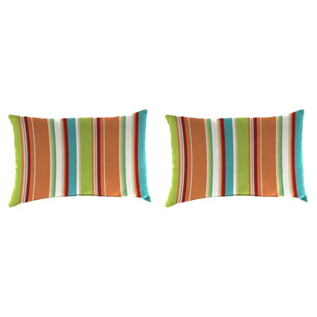 Jordan Manufacturing 18 in. Rectangle Toss Outdoor Pillow - Set of 2 - Covert Breeze