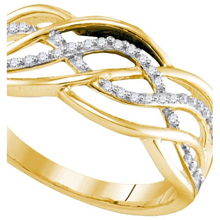 Size - 7 - 925 Sterling Silver Yellow Gold-Plated Round White Diamond Channel Set Curved CrossOver Wedding Band OR Fashion Ring (1/10 cttw)
