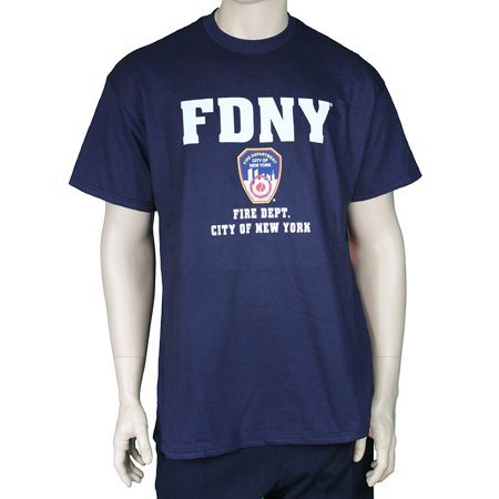 NYC FACTORY FDNY Short Sleeve White Fire Dept Logo and Shield T-Shirt Navy - Fire Department Tee Shirts
