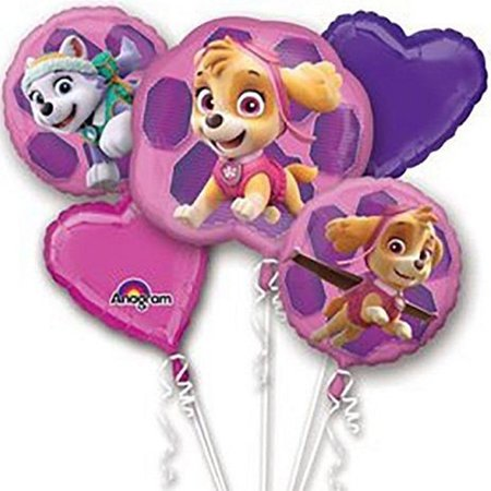 Paw Patrol Character Authentic Licensed Theme Girl Foil Balloon Bouquet - Nautical Themed Balloons