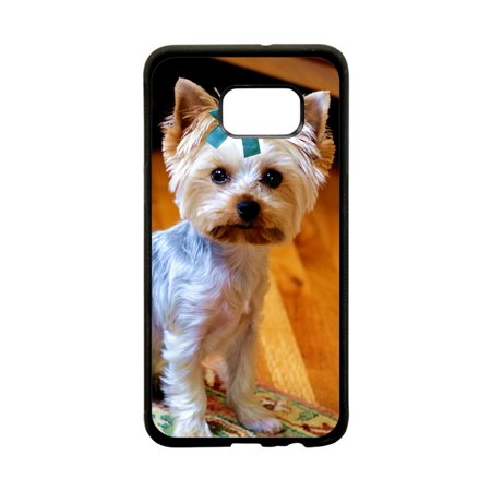 Yorkie Dog with a Bow Flat Print Design Black Rubber Thin Case Cover for the Samsung Galaxy s6 - Samsung Galaxy s6 Accessories - s 6 Phone Case
