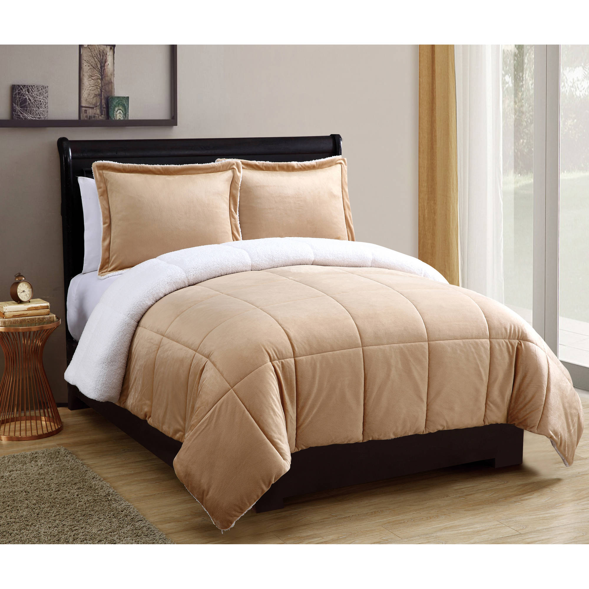 VCNY Home Solid Micro Mink Sherpa Box Stitched Reversible Bedding Comforter Set, Multiple Sizes and Colors Available