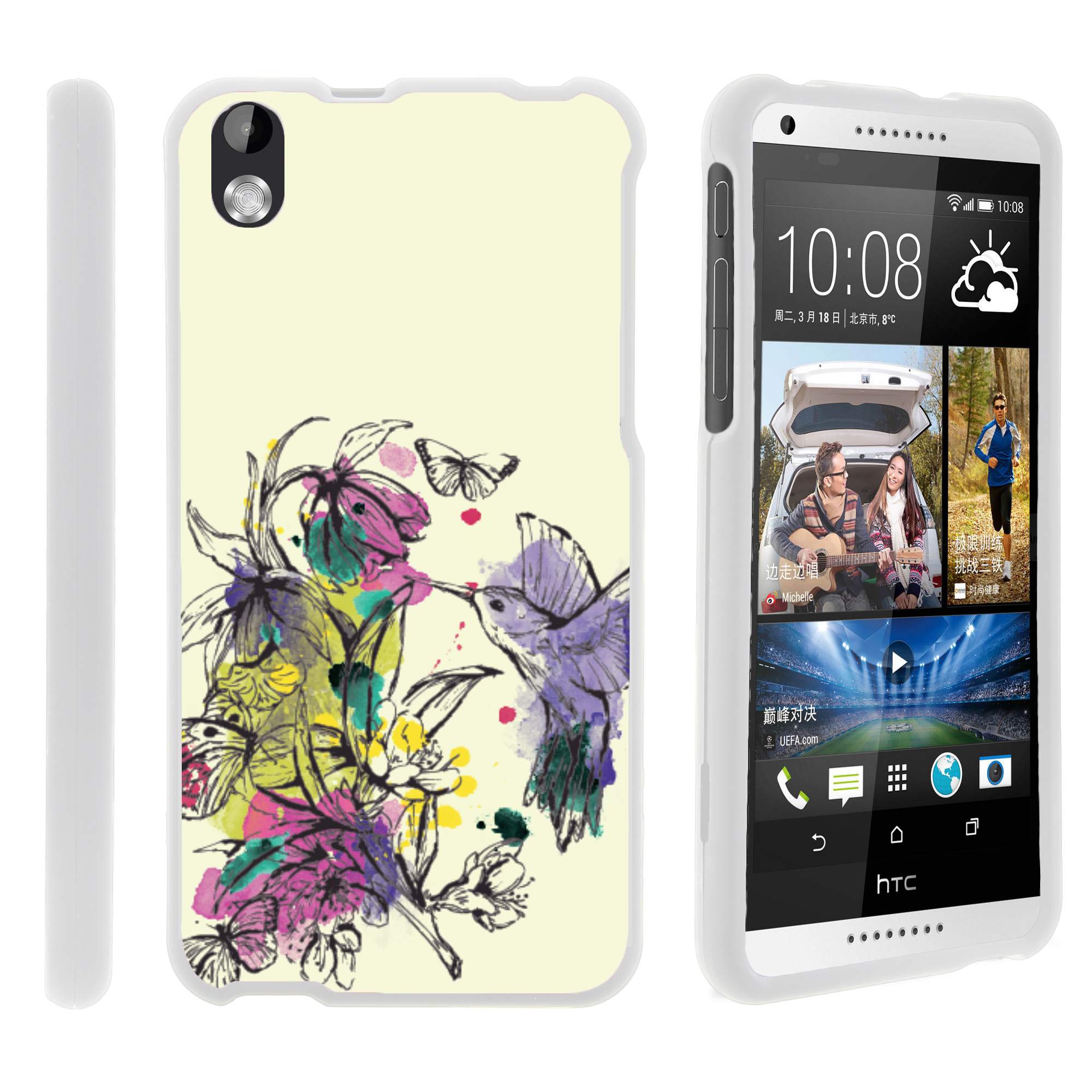 HTC Desire 816, [SNAP SHELL][White] Hard White Plastic Case with Non Slip Matte Coating with Custom Designs - Hummingbird Flowers