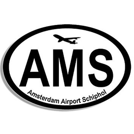 Oval AMS Amsterdam Airport Code Sticker Decal (jet fly hub pilot netherlands) 3 x 5 - Amsterdam Airport