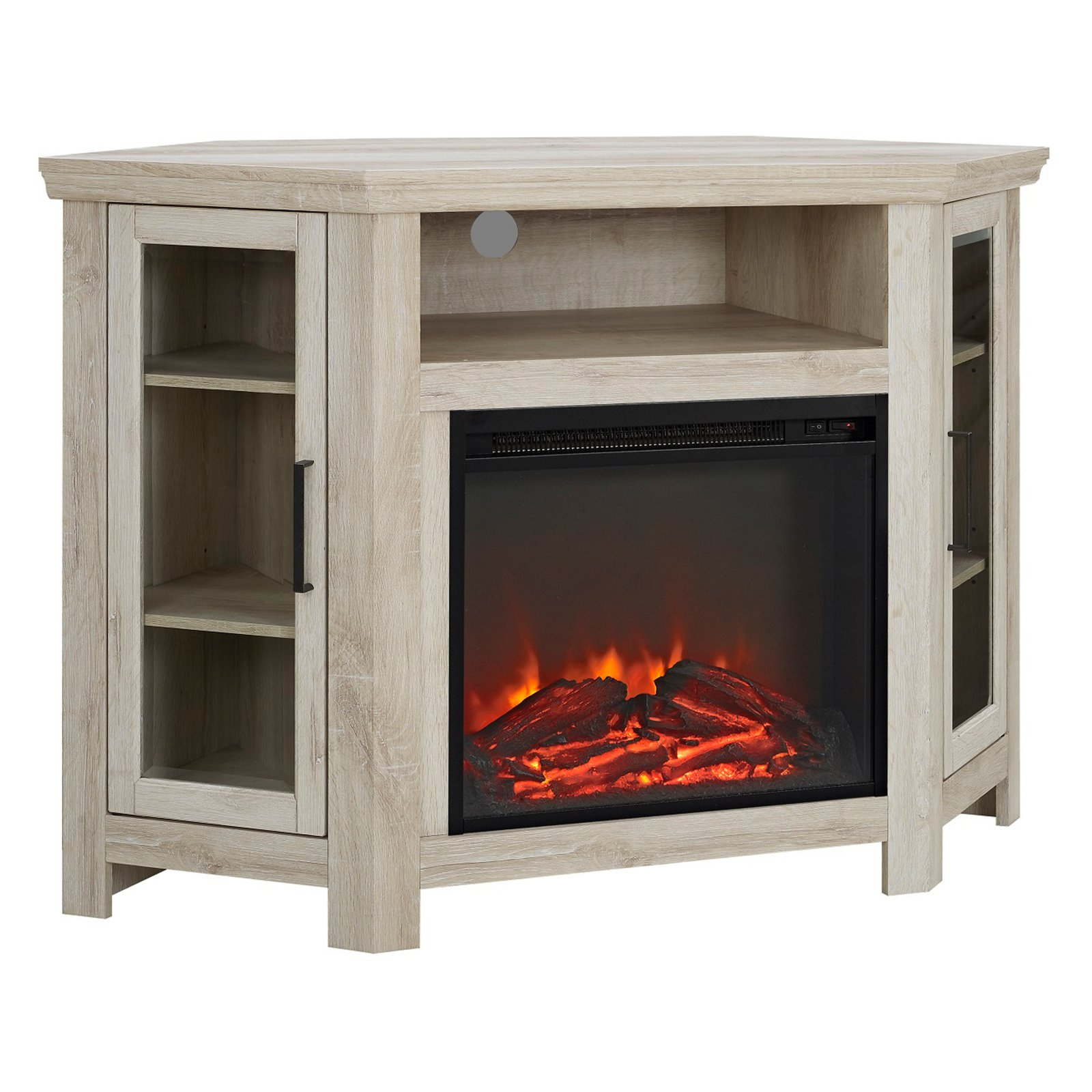 Walker Edison 48 In Corner Fireplace Media Tv Stand Walmart Com