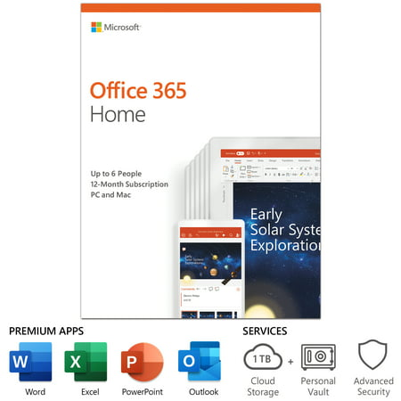 Microsoft Office 365 Home | 12-month subscription, up to 6 people, PC/Mac Key