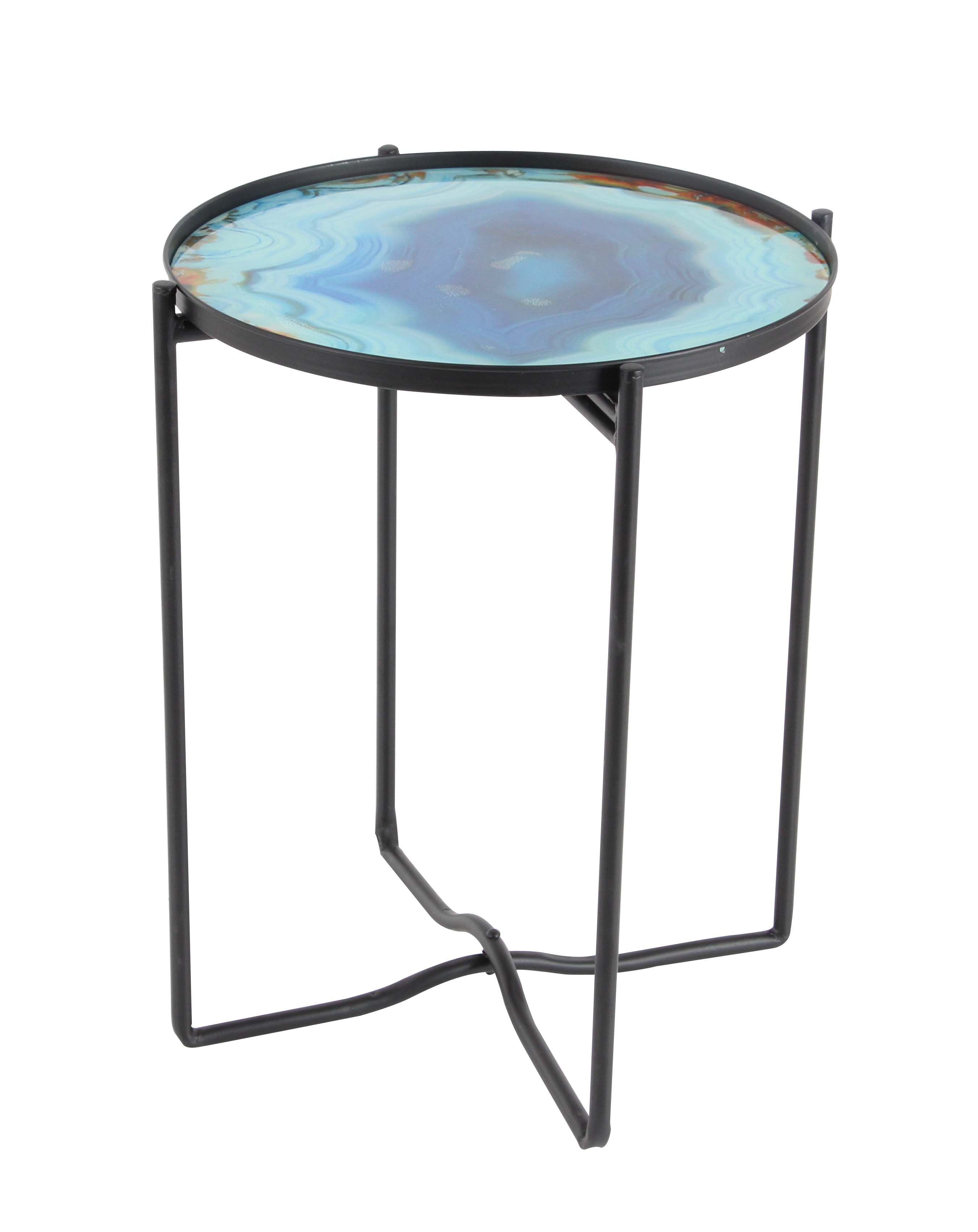 Decmode Contemporary 19 X 16 Inch Iron and Glass Round Accent Table, Blue by DecMode