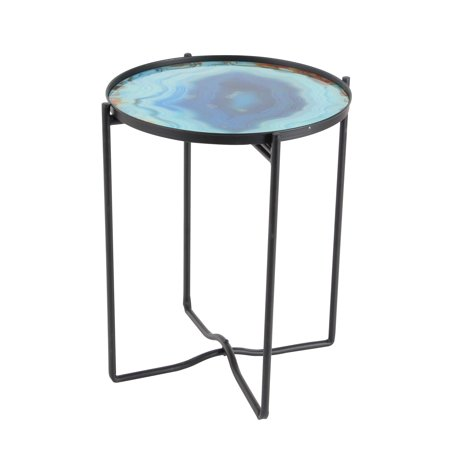 Decmode Contemporary 19 X 16 Inch Iron and Glass Round Accent Table, Blue ()