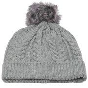 Girls Grey Faux Pompom Bobble Beanie Hat