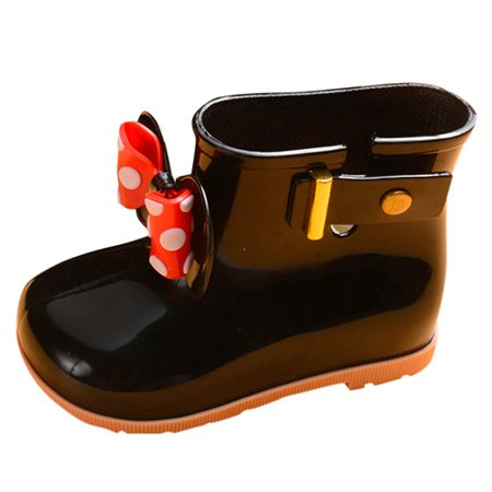 Kids 2019 Baby Girls Bowknot Dot Rubber WaterproofStudent Boots Rain