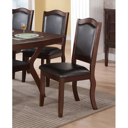 Poundex F1338 Formal Dining Chairs With Espresso Upholstery Set Of