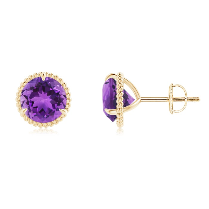 Angara Rope Framed Claw-Set Amethyst Double-Drop Earrings CFubQw