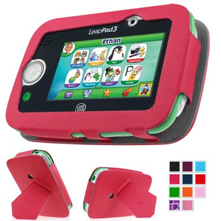 LeapFrog LeapPad3 Kids' Learning 5-Inch Tablet Case - Fintie Premium Vegan Leather Standing Carrying Cover, Magenta
