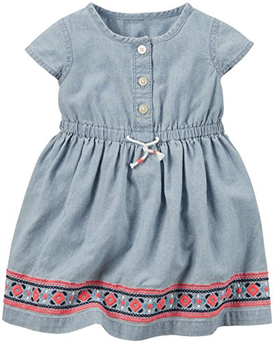 Baby Girls' Dress Chambray with Embro, Denim, 3 Months