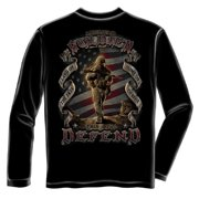 This We'll Defend American Soldier Long Sleeve T-Shirt by , Black