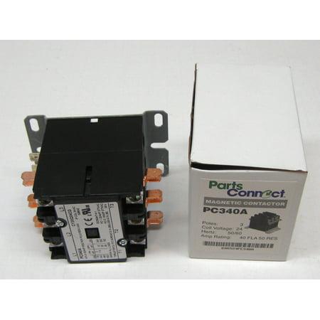 Contactor Three 3 Pole 40 Amps 24 Volts HVAC Parts