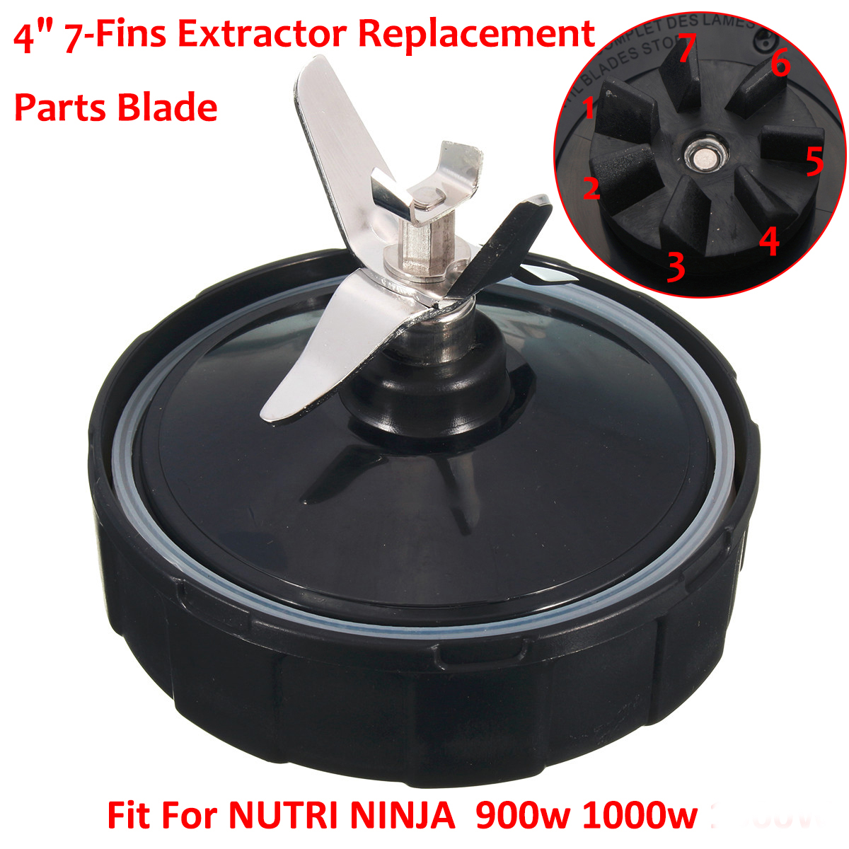 """4"""" 7-Fins Replacement Blade Parts With Gasket Ring For NUTRI NINJA Blender 900W 1000W"""