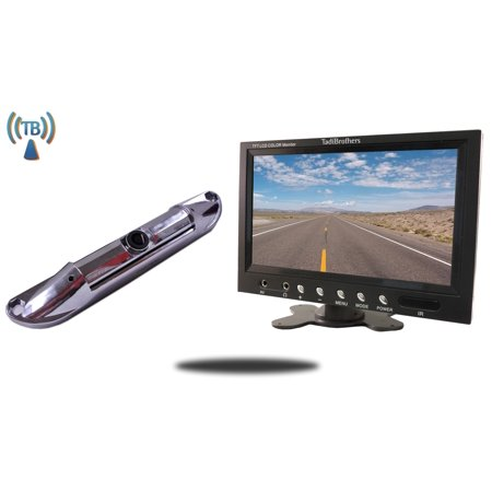 Tadibrothers 7 Inch Monitor with Wireless CCD Steel License Plate Night vision Backup (Wireless Plate)