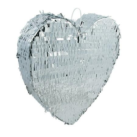 Fun Express - Silver Metallic Heart Pinata for Wedding - Party Decor - General Decor - Pinatas - Wedding - 1 Piece - Wedding Pinatas