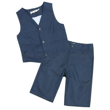 Deux par Deux Boys' Dark Blue Vest and Shorts Cool Class, Sizes 2-10 - 10 - image 2 de 2