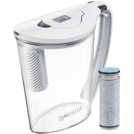 Brita 10 Cup Stream Filter As You Pour Water Pitcher With 1 Filter, Hydro, Bpa Free, Chalk White