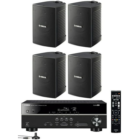 Yamaha 5.1-Channel Wireless Bluetooth 4K A/V Home Theater Receiver + Yamaha Natural Sound High performance 2-Way Indoor/Outdoor Weatherproof Speakers (Set Of 4) ()