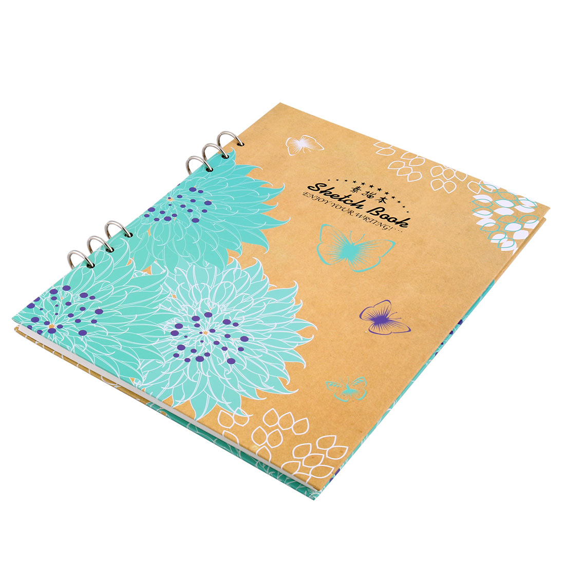 Painter Draw A4 Flower Pattern Binder Clip Sketch Pad Book