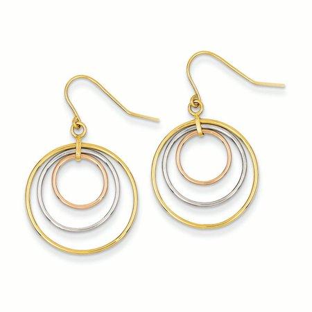 14K Tri-Color Gold Circles Dangle Shepherd Hook Earrings MSRP $325 ()
