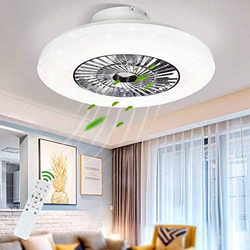 Dllt Led Remote Ceiling Fan With Light Kit 40w Modern Dimmable Ceiling Fan Lighting 7 Invisible Blades Ceiling Fans 23 Inch Ceiling Lighting Fixture Flush Mount 3 Color Changeable 3 Files Timing