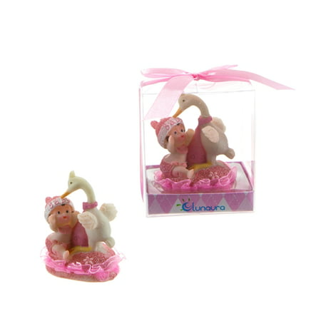 Stork With Baby (Baby Playing with Stork Poly Resin - Pink Case Of)