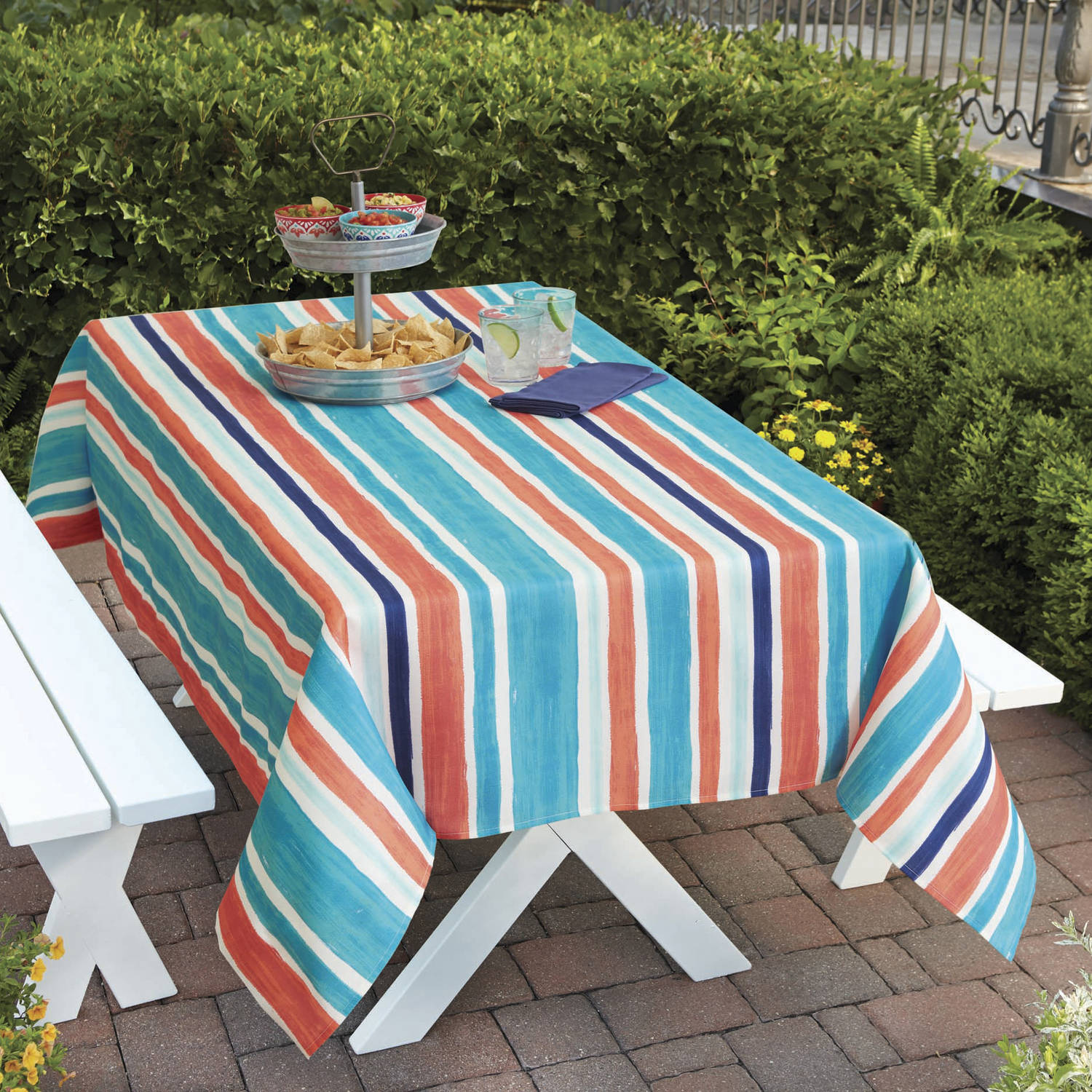 "Better Homes and Gardens Indoor/Outdoor Multi-Stripe Tablecloth, 60"" x 84"""