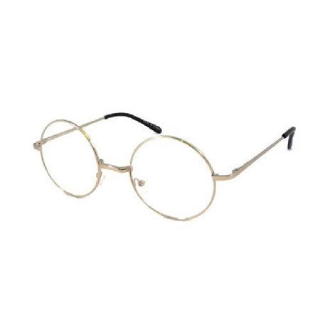 Large Frame Glasses - JOHN LENNON costume Circle Round Retro Large Metal Frame Clear Lens Eye Glasses, Silver