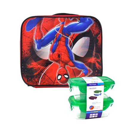 Boys Spider-man Insulated Lunch Bag with Shoulder Strap w/ Snack Container Set](Spiderman Lunch Box)
