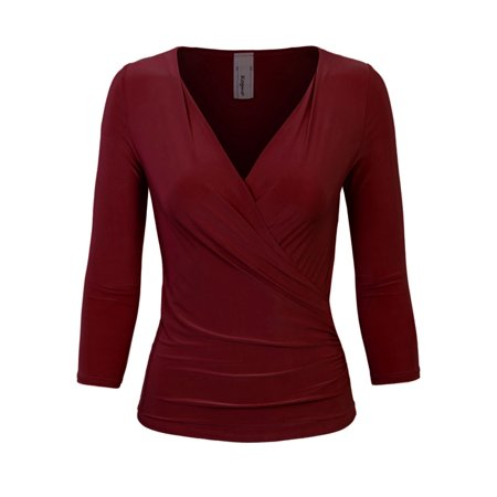 KOGMO Womens 3/4 Sleeve Side Wrap Ruched Shirred Slim Fit V-neck Top Shirts