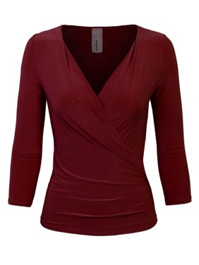 a7a1f69478 Product Image KOGMO Womens 3 4 Sleeve Side Wrap Ruched Shirred Slim Fit  V-neck Top