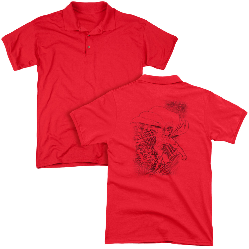 Superman DC Comics In The City Adult Back Print Polo T-Shirt