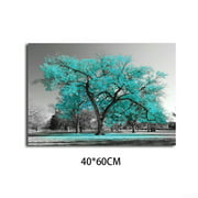 Large Tree Teal Unframed Leaves Black White Canvas Wall Art Picture Print Decor