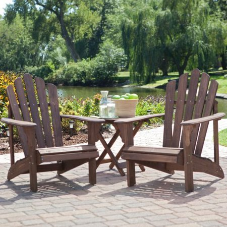 C Coast Adirondack Chair Set With Free Side Table Dark Brown