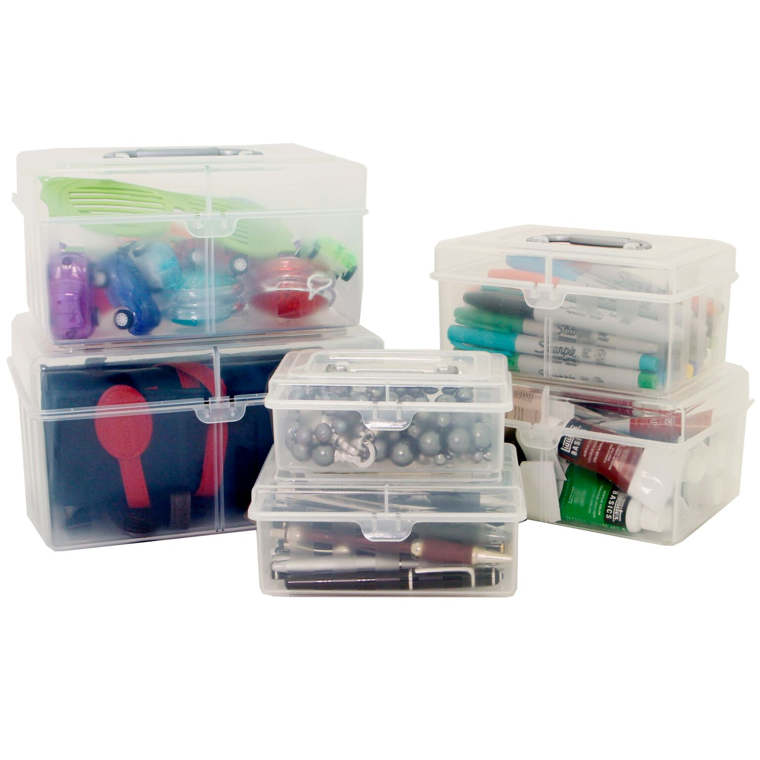 Craft Storage Organizer Containers with Handle - Set of 6 PCS Craft Bead School Supply Sewing Art Organizer Containers