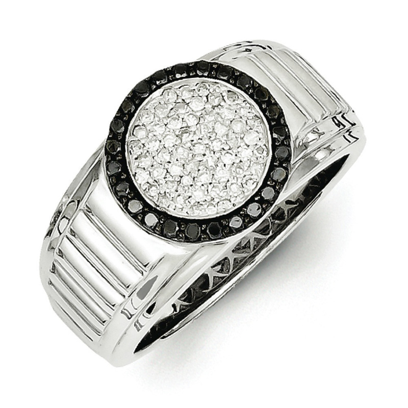 Sterling Silver White & Black Diamond Circle Men's Ring