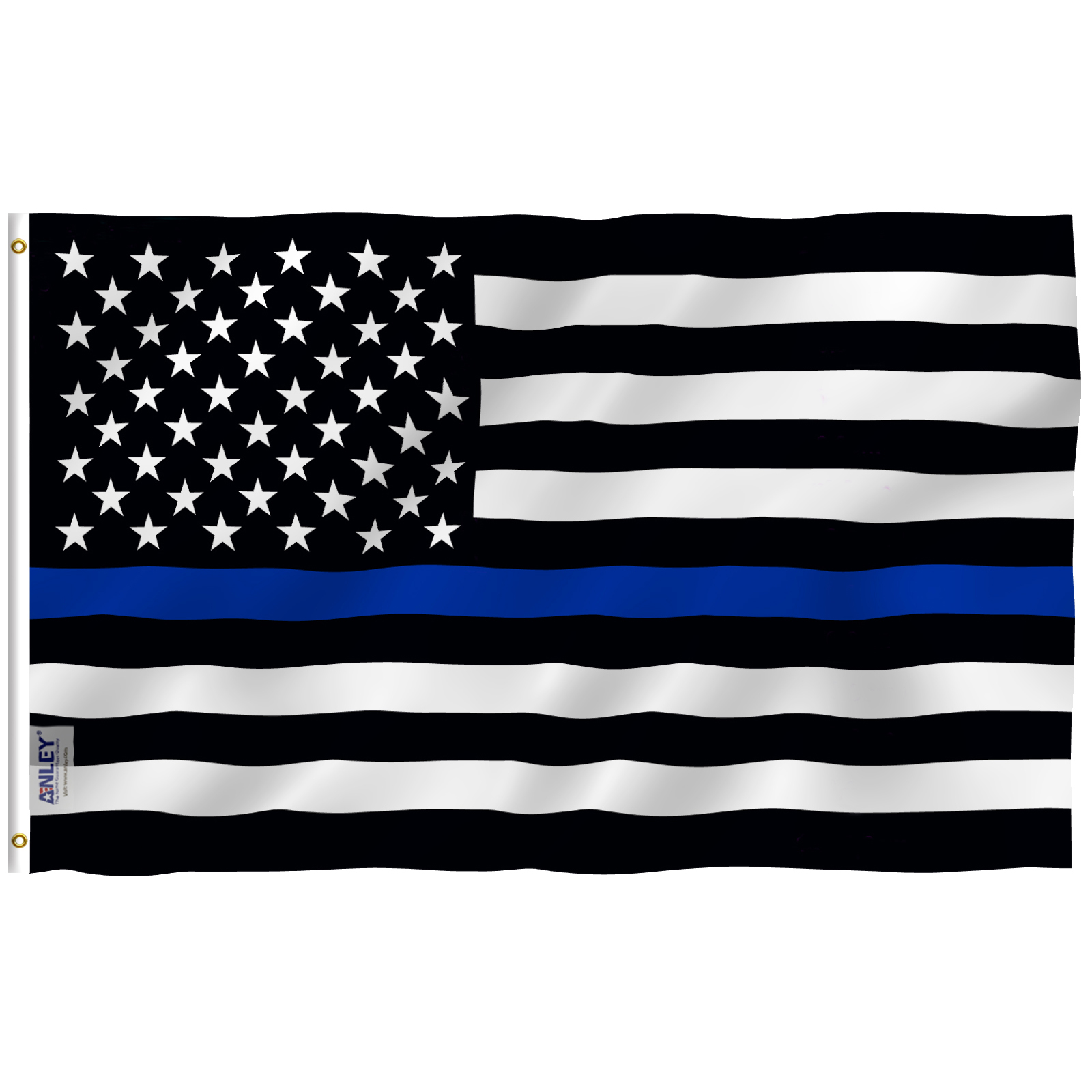 Vivid Color and UV Fade Resistant Anley Fly Breeze 4x6 Foot Thin Blue Line USA Flag Honoring Law Enforcement Officers Flags Polyester with Brass Grommets Canvas Header and Double Stitched