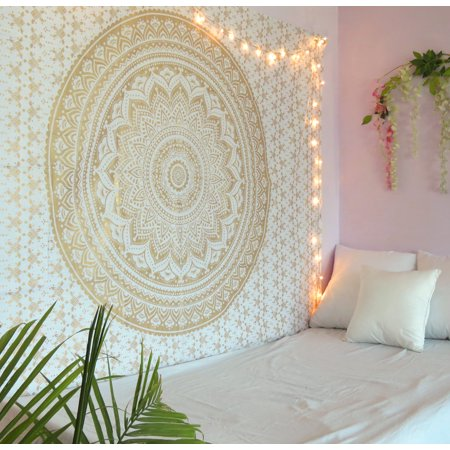 - Golden Mandala Tapestry Wall Hanging Twin Size Boho Dorm Room Indian Ombre Tapestries Beach Blankets Picnic Throws Bedspread by Oussum