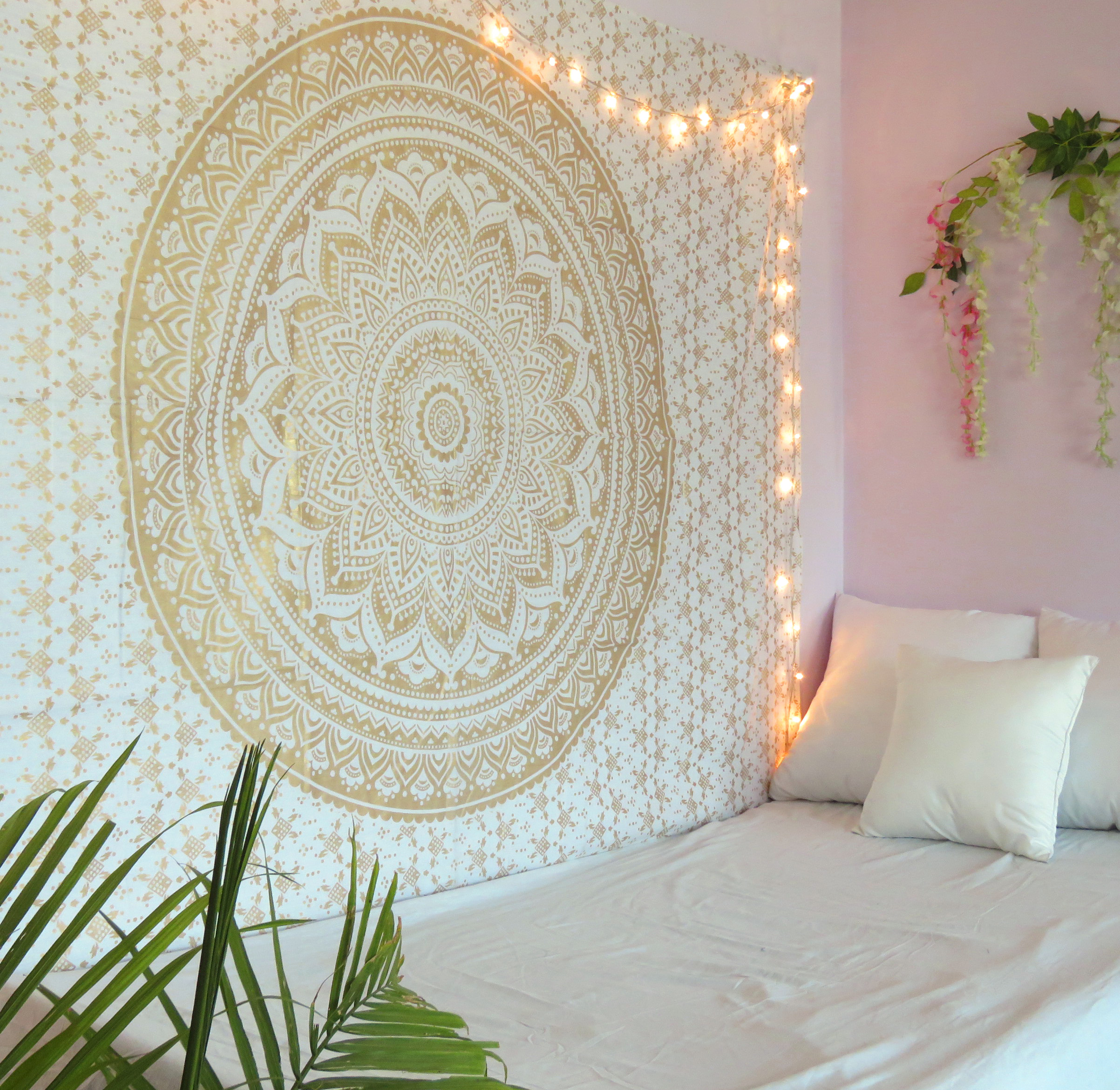 Golden Mandala Tapestry Wall Hanging Twin Size Boho Dorm Room Indian Ombre Tapestries Beach Blankets Picnic Throws Bedspread by Oussum