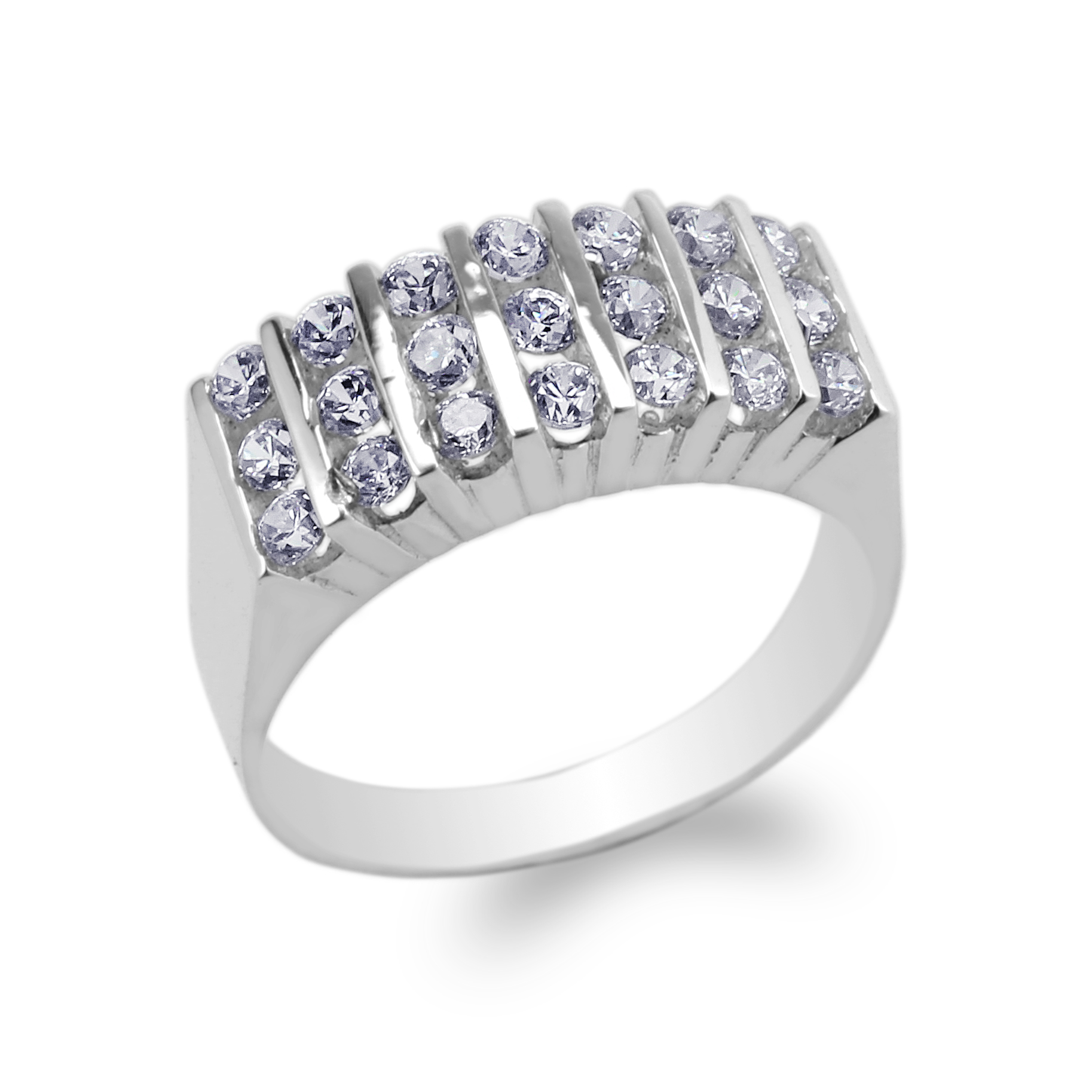 JamesJenny Sterling Silver 925 Round CZ Channel Beautiful Band Ring Size 4-10