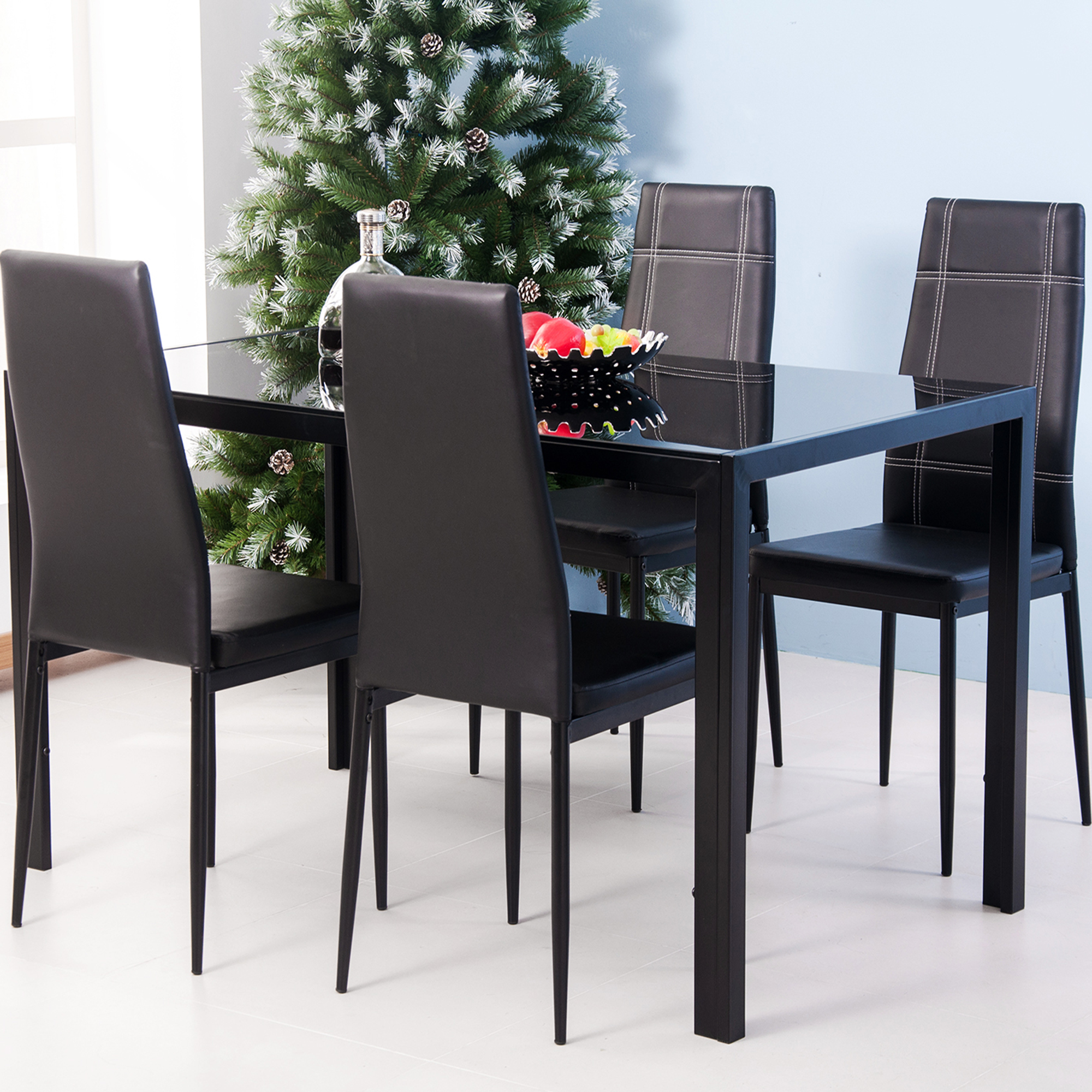 Small Dining Table Set For 4, Metal Dining Table Set With 4 Chairs Heavy Duty Tempered Glass Dining Table And 4 Chairs 5 Piece Kitchen Dining Set For Bar Breakfast Nook Small Spaces Dining Room Furniture Black W12789