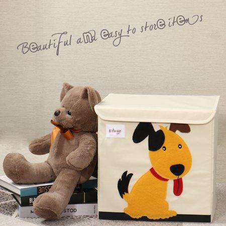 "Foldable Cartoon Storage Bins Toy Box Cube Baskets Yellow Puppy Pattern Lid 13""x13""x13.6"" - image 7 of 8"