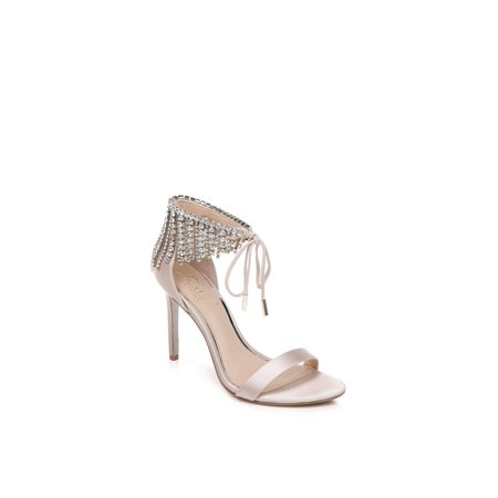 BADGLEY MISCHKA Womens Darielle Fabric Peep Toe, Champagne/CHMSAT, Size 9.5 Brown Peep Toe Pump